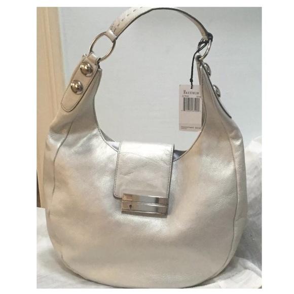 2ca3424abc  345 MAXIMUM Silver Leather Shoulder Crescent Bag